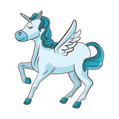 Unicorn with wings cartoon