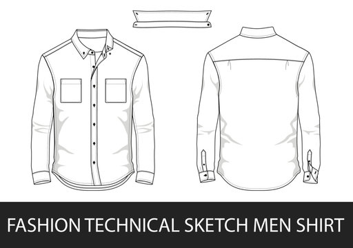 Fashion technical sketch men shirt with long sleeves and patch pockets in vector.