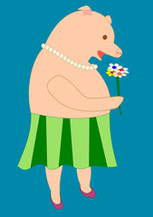 Drawing of a lady pig in a green skirt smelling a flower