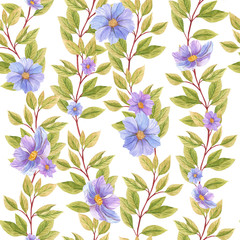 seamless watercolor background mix colorful floral flower and leaves  used for background texture, wrapping paper, textile or wallpaper design.