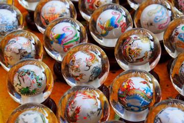 sculpture design inside the glass ball