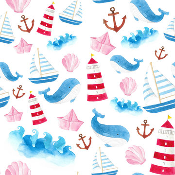 seamless watercolor hand draw background mix sea elements sea wave sailboat  Whale lighthouse anchor shellfish