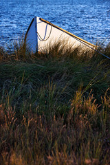 Rowboat in marsh grass.