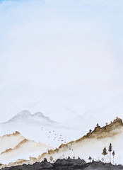 Picture water colour, hand draw, landscape vertical background.