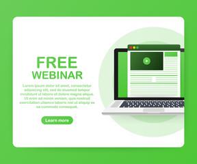 Concept free webinar for web page, banner, presentation, social media, documents. Watch video online. Vector illustration.