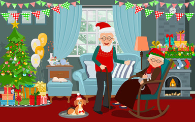 Grandfather and grandmother and their pets are living around at home in the Christmas decorated living room. Happy grandparents are together. Vector illustration of a flat design.