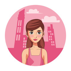 young woman face cartoon