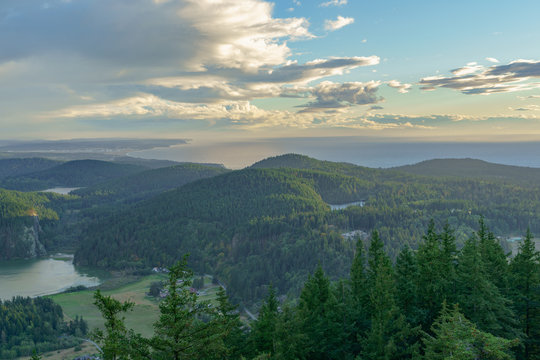 The View of Fidalgo and San Juan Islands on Mount Erie