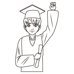 young graduate man cartoon in black and white