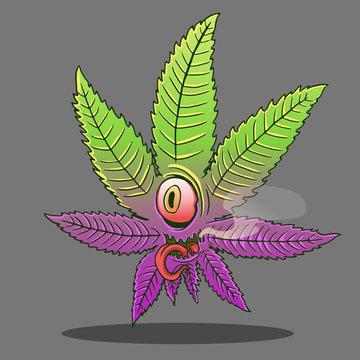 marijuana leaf red eye monster