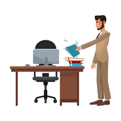 Executive businessman cartoon isolated