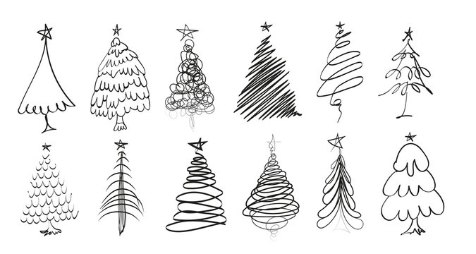 Hand drawn Christmas tree. Set of sketched illustrations of firs. Black ink and brush sketches of spruce for cards and package design. Vector elements