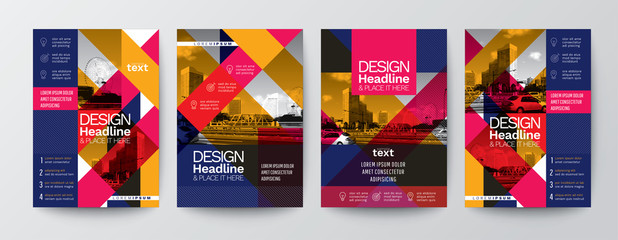 collection of modern design poster flyer brochure cover layout template with space for photo background