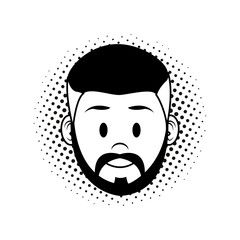 Man face cartoon in black and white