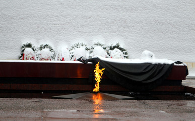 Photo landscape of eternal flame at the Kremlin wall