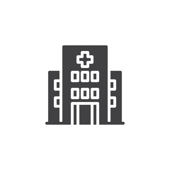 Hospital building vector icon. filled flat sign for mobile concept and web design. Clinic with medical cross simple solid icon. Symbol, logo illustration. Pixel perfect vector graphics