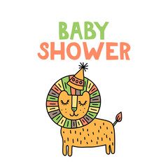 Baby shower. Cute doodle lion with lettering