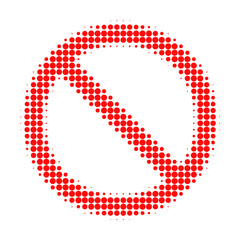Forbidden halftone dotted icon. Halftone pattern contains circle elements. Vector illustration of forbidden icon on a white background.