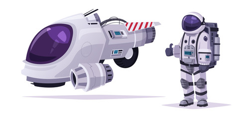 Cosmonaut character and spaceship. Cartoon vector illustration