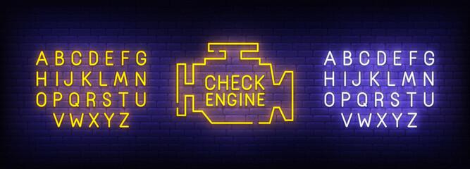 Check Engine neon sign, bright signboard, light banner. Car service logo. Neon sign creator. Neon text edit. Vector illustration