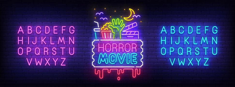 Horror movie neon sign, bright signboard, light banner. Night Cinema logo. Neon sign creator. Neon text edit. Vector illustration