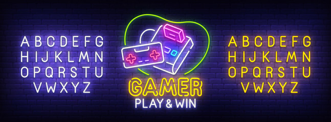 Gamer neon sign, bright signboard, light banner. Games logo. Neon sign creator. Neon text edit. Design template. Vector illustration