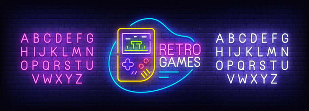 Retro Game neon sign, bright signboard, light banner. Game console logo. Neon sign creator. Neon text edit. Design template. Vector illustration