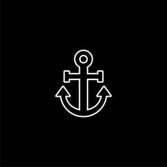 Anchor logo, Golden anchor icon on dark background