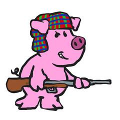 Angry pig hunter cartoon