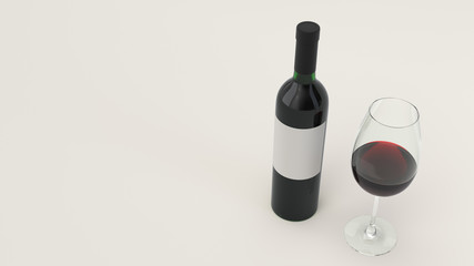 Bottle of red wine and a glass