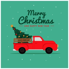 Flat deliver truck merry christmas background