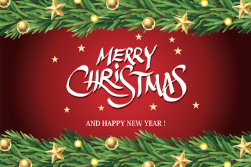 Merry Christmas and New Year Background, Vector