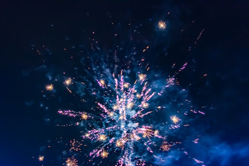 Bright festive fireworks against the background of the night sky