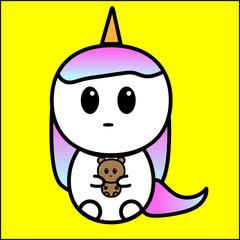Cute cartoon unicorn with doll in hand, vector graphics