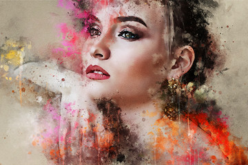 Art colorful sketched beautiful abstract girl face portrait on colored background in Digital watercolour mixed media style word fashion style model Wall mural