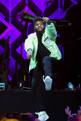 Khalid performs during Z100's iHeartRadio Jingle Ball 2018 concert at Madison Square Garden in New York City
