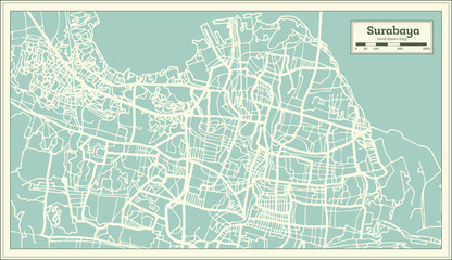 Surabaya Indonesia City Map in Retro Style. Outline Map.
