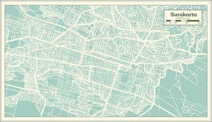 Surakarta Indonesia City Map in Retro Style. Outline Map.