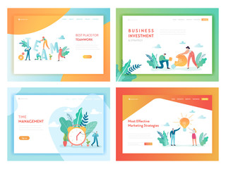 Teamwork Business Investment Landing Page Template. Marketing Strategy Concept with Characters Working in Office for Website or Web Page. Vector illustration