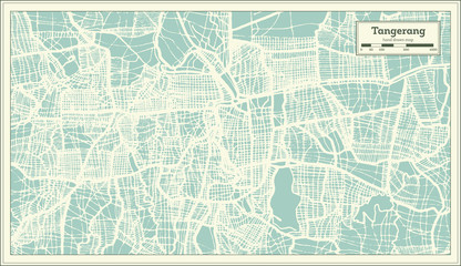 Tangerang Indonesia City Map in Retro Style. Outline Map.