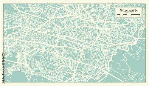 Surakarta Indonesia City Map in Retro Style. Outline Map.\