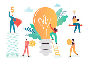 Business Characters Team Working on Creative Idea. Teamwork Innovations Concept. Brainstorming Process with Business People and Light Bulb. Vector illustration