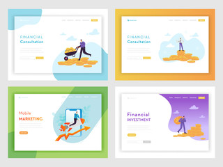 Financial Investment Business Success Landing Page Template. Mobile Marketing Strategy Concept with Characters and Money for Website or Web Page. Vector illustration