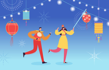 Chinese Lunar New Year People dancing, happy dancer in china traditional costume holding lanterns and drums on parade or carnival, characters in cartoon style vector illustration