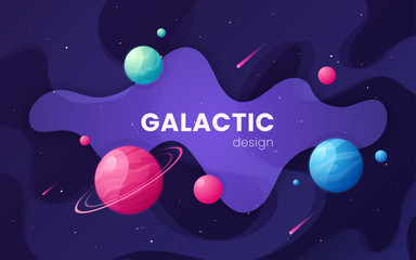 Cartoon galaxy futuristic outer space background, design, artwor