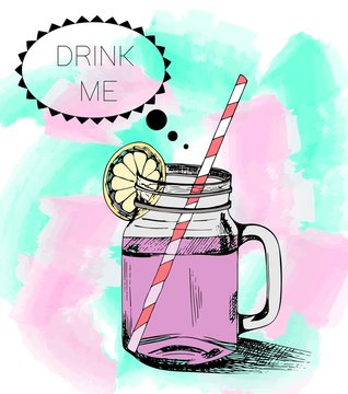 Hand drawn smoothie mason jar on watercolor background. Drink me message.
