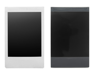 Instant photo frame front and back isolated on white background.