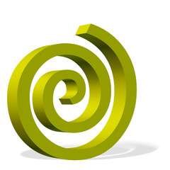 Gelbe Spirale, 3D-Illustration