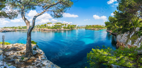 Wall mural Landscape with Cala D'or bay and village, Palma Mallorca Island, Spain