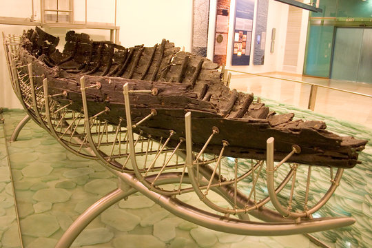 Jesus' Boat. Old boat uncovered in the sea of Galilee, from the